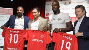 Congo y Pggba, con el presidente del Racing de Murcia, en su presentación