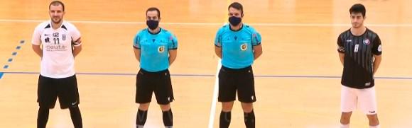 Los capitanes de Ceutí y Rivas, Sufian y Ballano, con la pareja arbitral