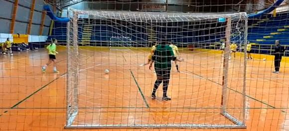 Imagen del primer entrenamiento del año del CD Camoens en el pabellón La Libertad