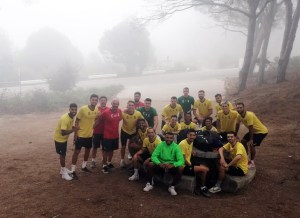 Los integrantes del Ceuta, este martes en García Aldave
