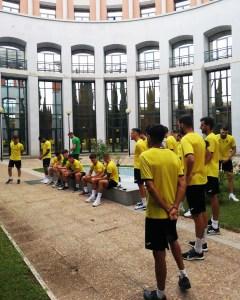 Los jugadores del Ceuta, este sábado en su hotel extremeño