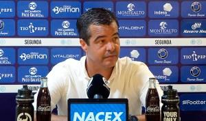 García Gaona, en la rueda de prensa posterior al empate ante la AD Ceuta FC