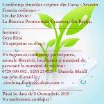 Afiş Conferinţa Femeilor Creştine din Caraş-Severin, 10.10.2015