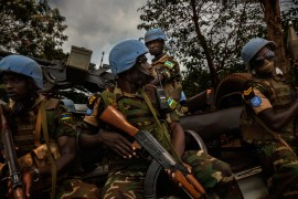 Africa, Central African Republic, Bangui. The Blue Berets of MINUSCA–the United Nations multidimensional integrated stabilization mission in Central Africa, a peacekeeping mission that currently comprises 8600 men, set to rise to 12,000 by the end of 2015. 29th January 2015 ©Marco Gualazzini