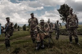 Africa; Democratic Republic of Congo; North Kivu, Rutshuru. 15/10/2012. Brigadier General Sultani Makenga (seated) of the newly formed Congolese Revolutionary is seen in Rumangabo military camp (Bunagana), Democratic Republic of Congo. The M23 Movement, the newly formed political wing of former M23 rebels, has formed a semi autonomous administration structure in areas under their control in north Kivu province in the DRC.