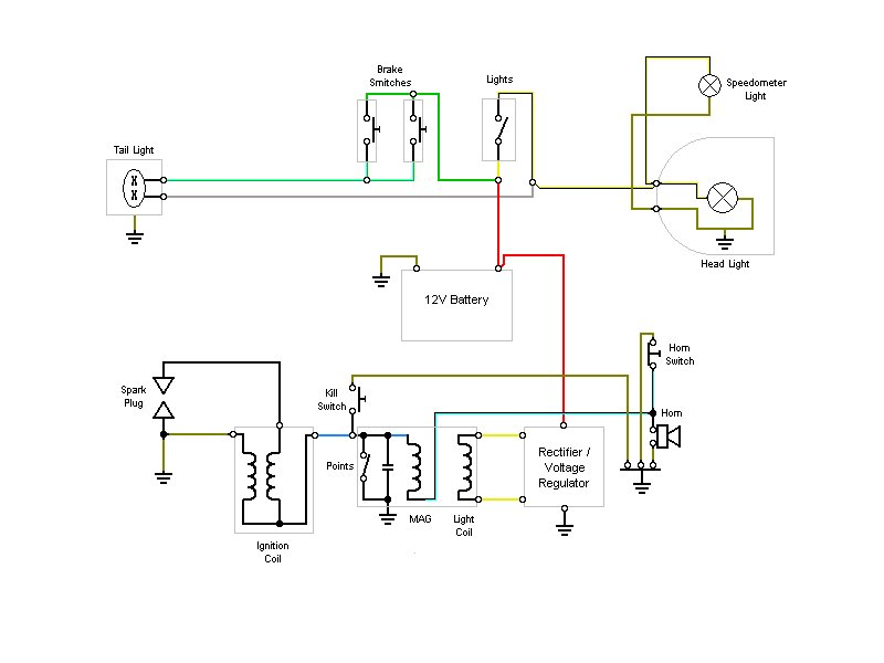 Wiring Diagram 12v Conversion — Moped Army