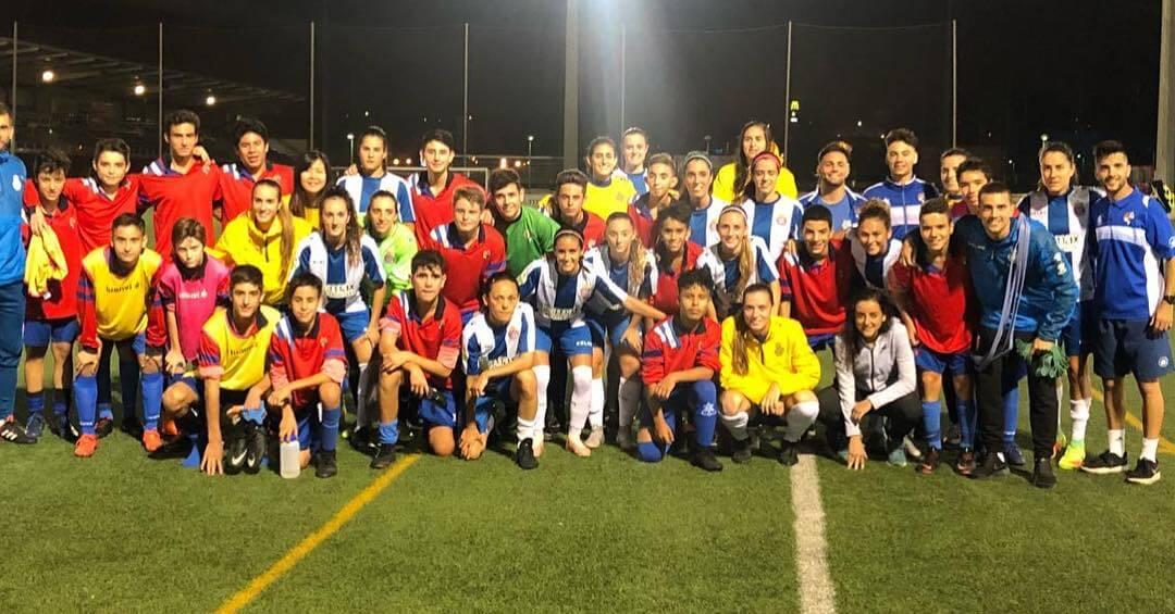 🔵⚪️ RCD Espanyol Femenino 1 – 1 Cadete B.  Ayer nuestro Cadete B empató ante el primer equipo femenino del Espanyol en las instalaciones deportivas Dani Jarque