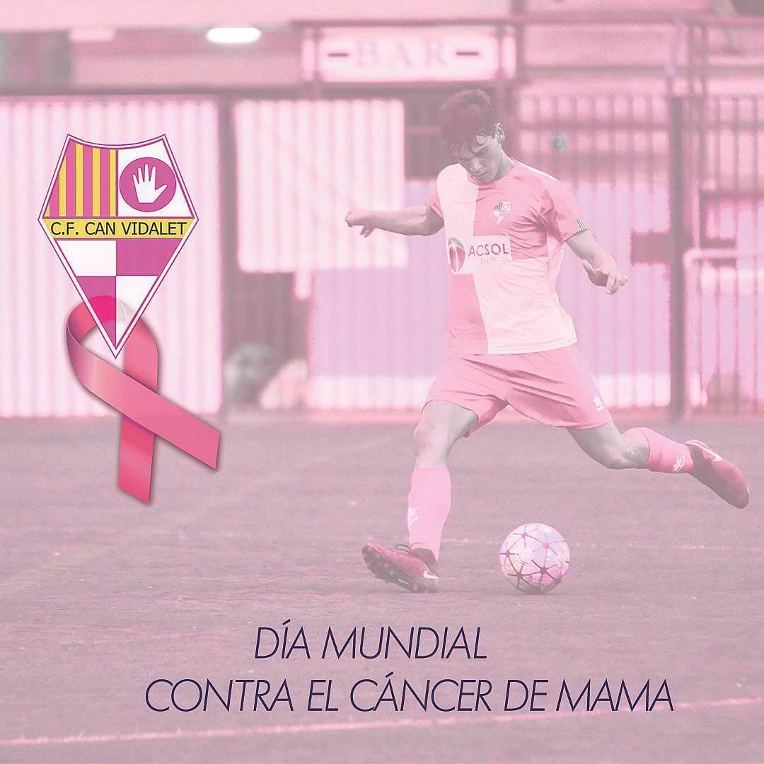 Avances en medicina, sin embargo se estima que el cancer de mama aumenta 1-2% anualmente🧐  CF Can Vidalet se solidariza con el Día Mundial contra el Cáncer de Mama🎀  El tumor más frecuente entre la población femenina, tanto en países desarrollados como en vías de desarrollo