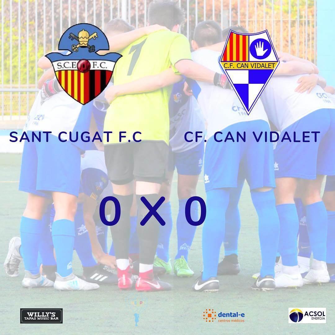 🔵⚪ SANT CUGAT FC. 0-0 CAN VIDALET CF.  Segundo empate en liga que supone volver a sumar puntos después de la derrota de la semana pasada ✅  Han faltado los goles en un partido en el que destacan la energía y las ganas desplegadas por ambos equipos ⚽  El domingo que viene recibimos a la UE. Vic en el Molí (12h) con ganas de seguir manteniendo la dinámica positiva