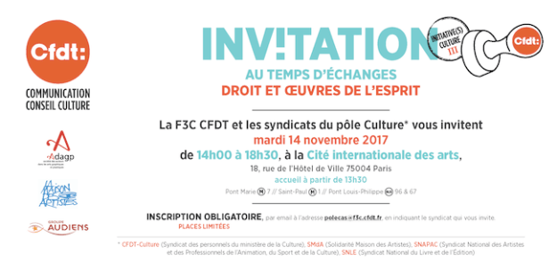 F3C CFDT - Intiative(s) Culture du 14 novembre 2017: droits et oeuvres de l'esprit