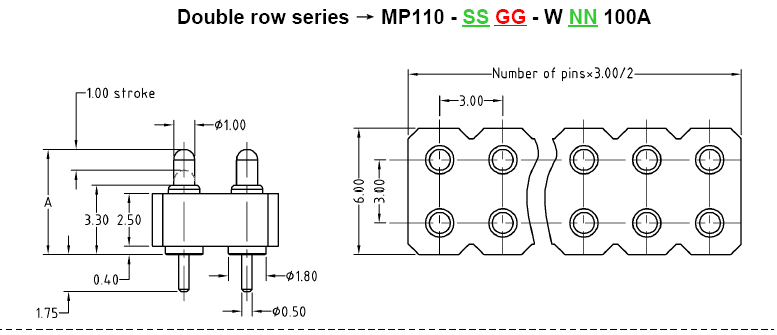 3.0mm Pitch Through-hole Pogo Pin Connector Catalog