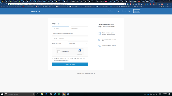 Coinbase Signup page - purchase bitcoin cryptocurrency