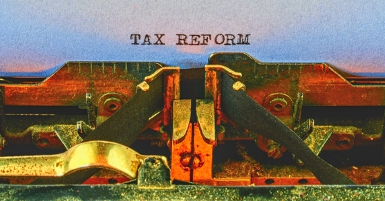 Tax reform is discussed with areas including interest rate deductions, pass-through entity tax rates, and bonus depreciation.