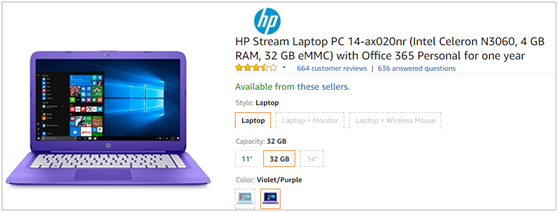 Amazon bestselling laptop HP Stream