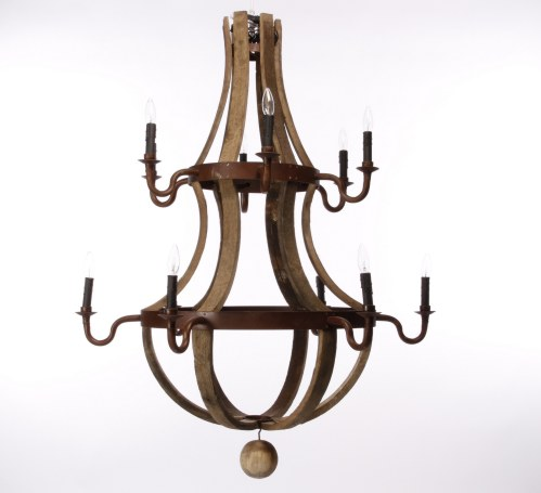 Two Tier Barrel Stave Chandelier