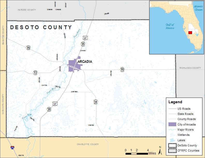 Map Of Arcadia Florida.Desoto County Location Map Cfrpc Central Florida Regional