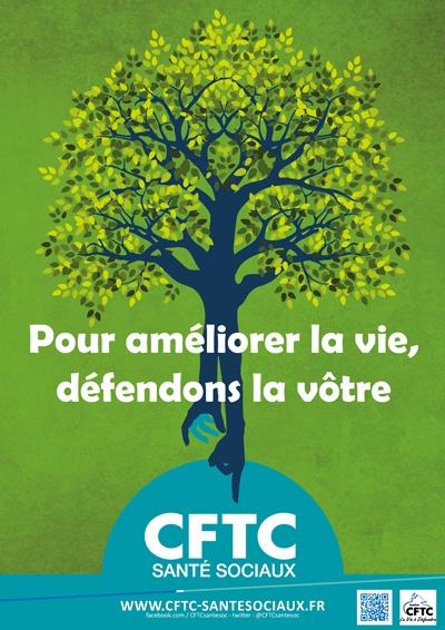 """Poster : """"Pour améliorer la vie, défendons la vôtre"""" – fond vert"""