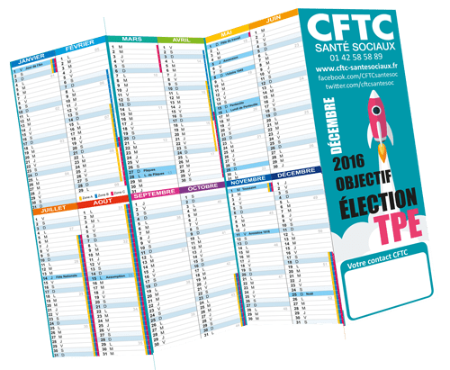 Le calendrier planning 2016
