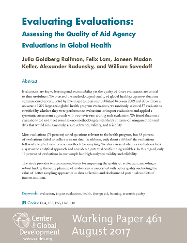 Evaluating Evaluations Assessing The Quality Of Aid Agency