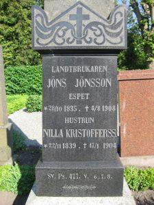 Jöns Jönsson (1835-1908 och hustrun Nilla Kristoffersdotter (1839-1904) Espet
