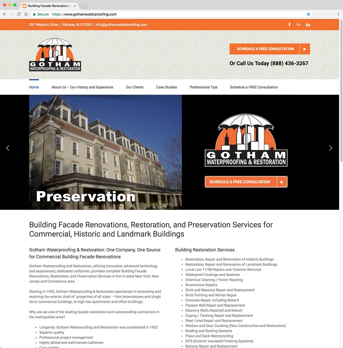 Gotham Waterproofing and Restoration Website