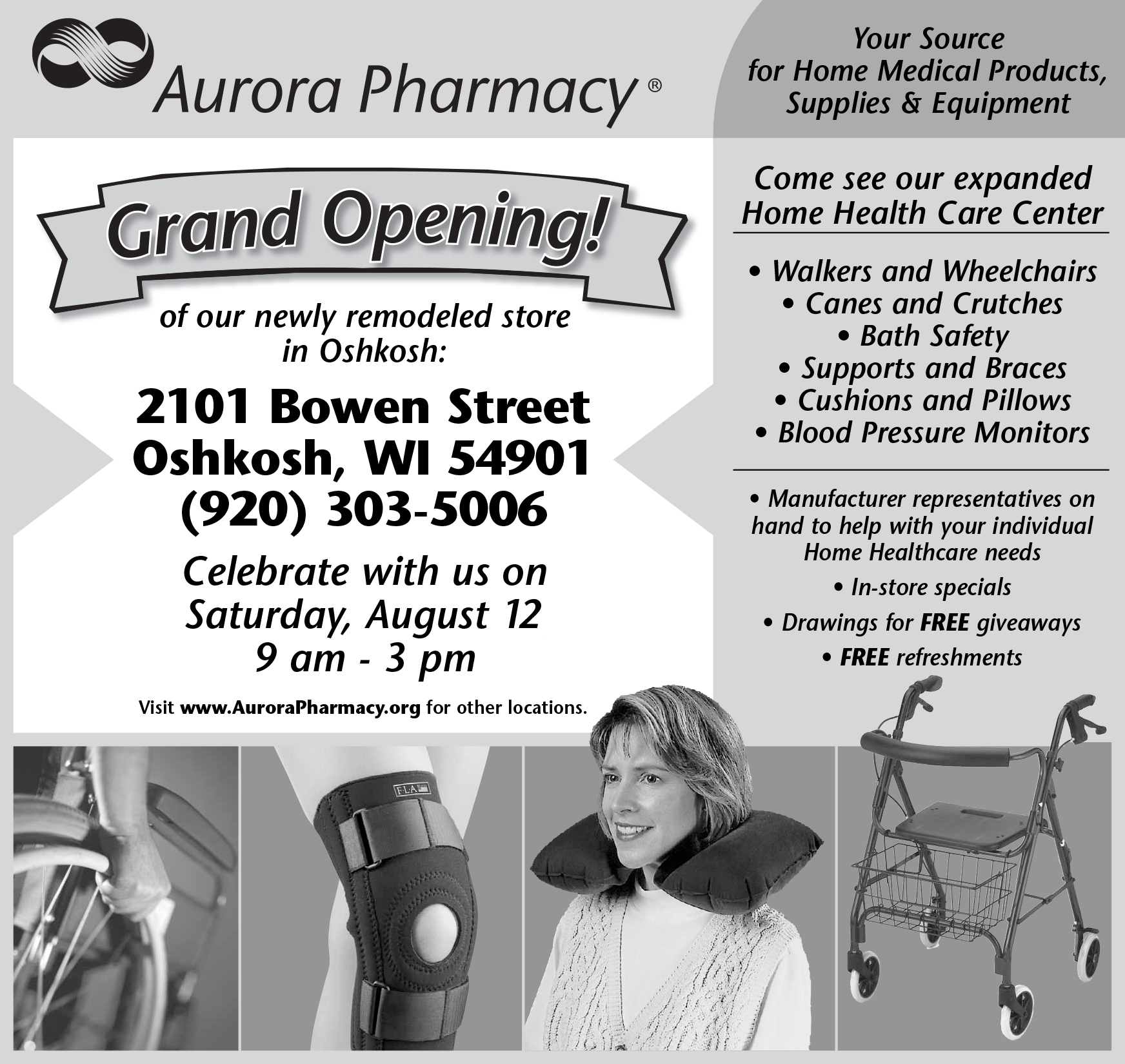 Aurora Pharmacy - Half Page Newspaper Ad