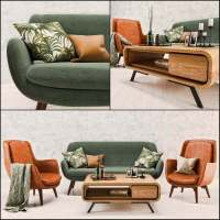 Mid Century Sofa and Chair set 3D model for download ...