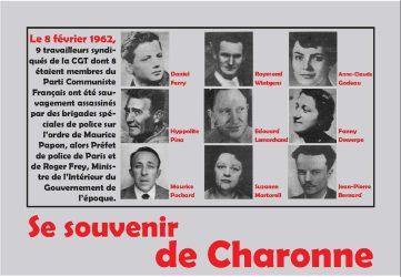 Cérémonie du 8 février 2019 à la mémoire des manifestants tués 57 ans plus tôt au métro Charonne