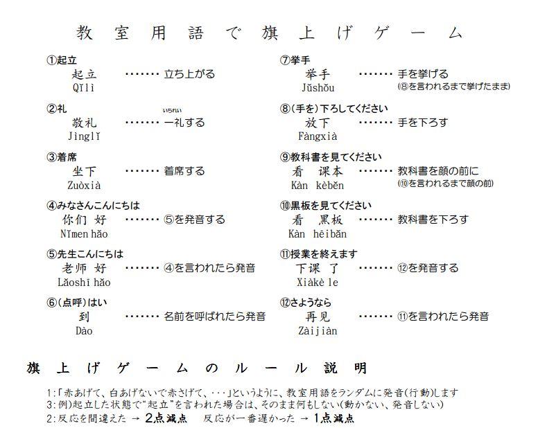 教室用語(旗揚げゲーム)   Chinese Station