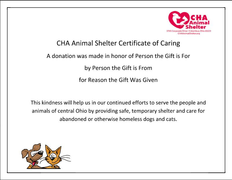 CHA Animal Shelter Memorial Gifts CHA Animal Shelter