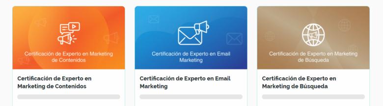 Se muestran todas las certificaciones de marketing digital en un solo lugar