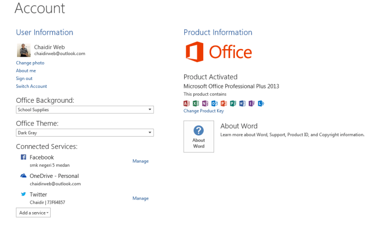 Menu Account pada Microsoft Office Profesional Plus 2013