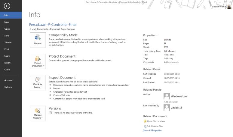 Tampilan Microsoft 2013 Menu FIle