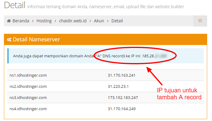 Detail akun dihostinger nameserver pointing domain subdomain