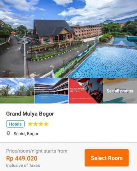 harga hotel grand mulya bogoe per malam