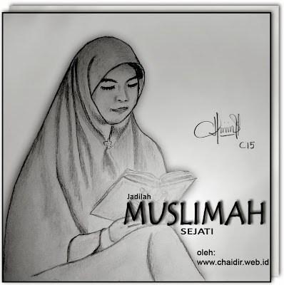 Sketsa-Wanita-Muslimah-Membaca-Buku