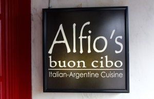 Alfio's sign at the entrance