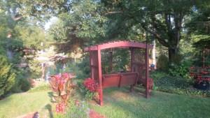Garden seat overlooking Crystal Lake