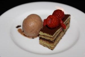 Pistachio opera cake with bittersweet chocolate ice cream