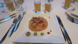 "Prawn ""beer""-viche with avocado mousse, coriander and cumin tostadas, and cilantro aioli"