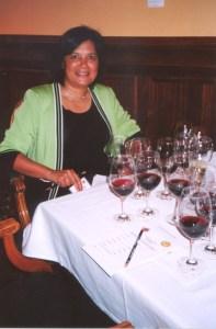Dame Reeta Brendamour studies the wines