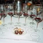 A flight of cabernet sauvignons with chocolate ganache assortment