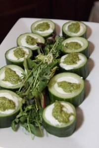 Pesto and crème fraîche stuffed cucumbers