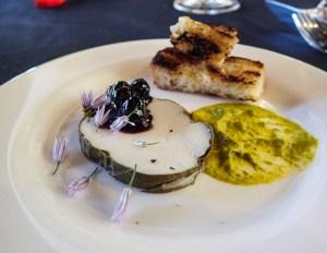 halibut terrine + brioche + ramp mustard + blueberry