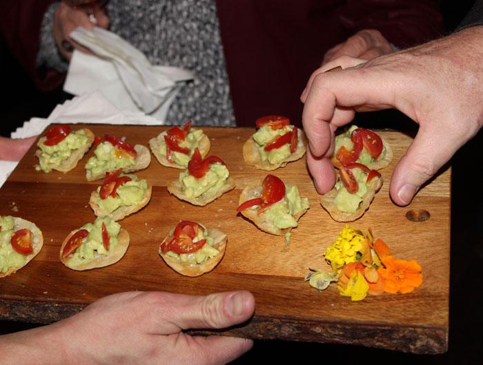 Avocado and Cucumber Salad on Crispy Mooshu