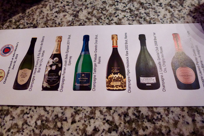The selection of Champagnes