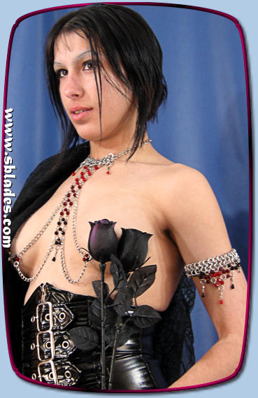 IceFlame necklace nipple chain Erotic chainmail neck to chest jewelry in beaded chain mail