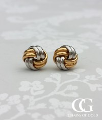 Two Colour 9ct Gold Knot Stud Earrings | Chains of Gold