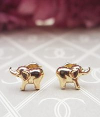 Small Children's 9ct Yellow Gold Elephant Stud Earrings