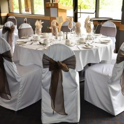 Affordable Chair Covers Calgary Rio Gear Ultimate Backpack With Cooler Affair Gallery Valley Ridge Golf Course White Banquet Chocolate Brown Organza Sash